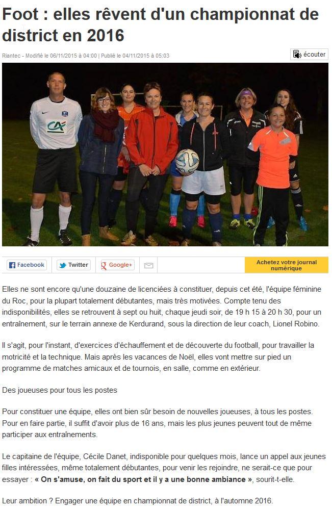Ouest France – Les Féminines rêvent d'un championnat