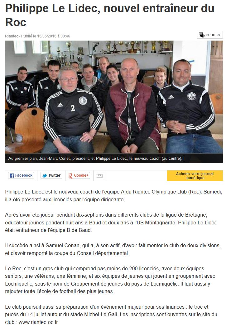 Ouest France – Philippe Le Lidec , nouvel entraineur