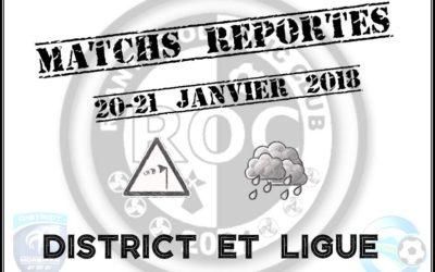 Report des matchs de Ligue et de District